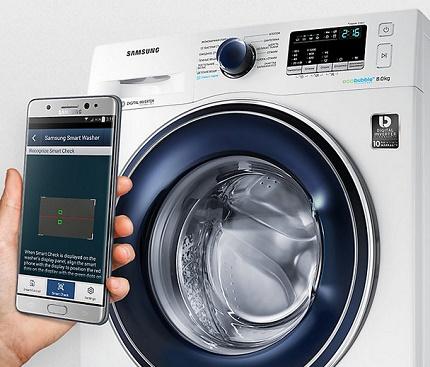 Smartphone-controlled washing machines