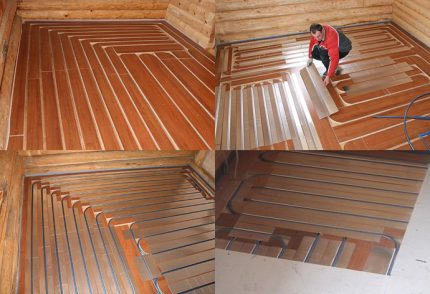 Warm floor in a wooden house