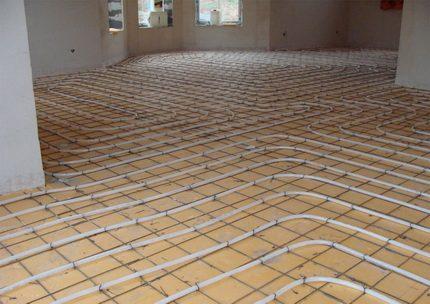 Warm water floor