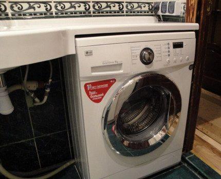Narrow washing machine in the interior