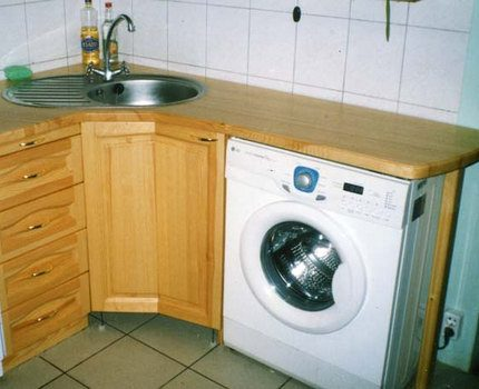 Narrow washing machine in a furniture set
