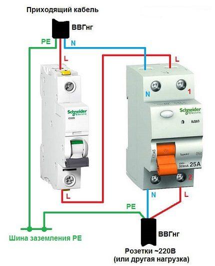 RCD connection diagram
