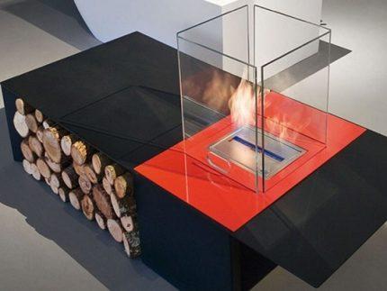 Glass screen for ecofireplace
