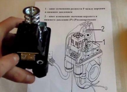 Slėgio jungiklio instrukcija