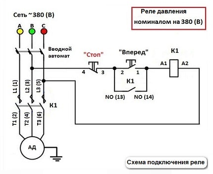 380 V relay connection diagram