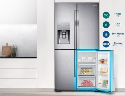 Side-by-side freezer can store food at -24 ° C
