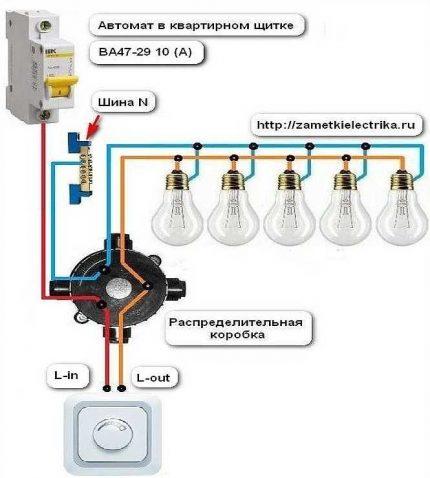 Schéma de câblage pour interrupteur tactile