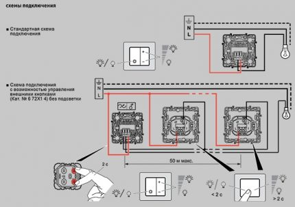 Two dimmer connection schemes