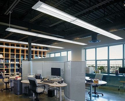Office consecrated by fluorescent lamps
