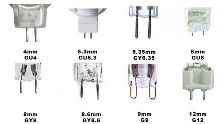 Halogen lamp sockets and pins