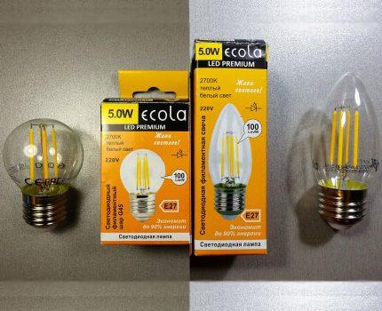 Ecola filament lamps