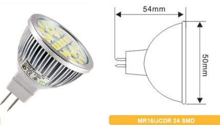 Overall dimensions of LED lamps