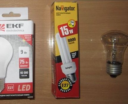 Lighting lamps of different types