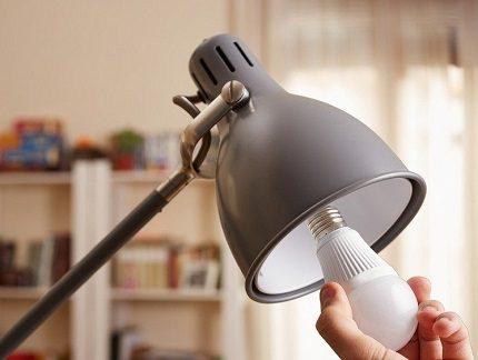 Modèle de luminaire avec ampoule LED remplaçable