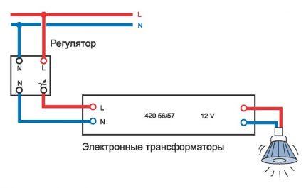 Halogen connection diagram