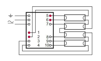 Connection of four lamps on electronic ballasts
