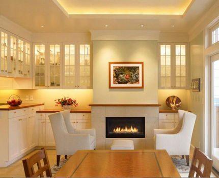 Warm LED lighting in the living room