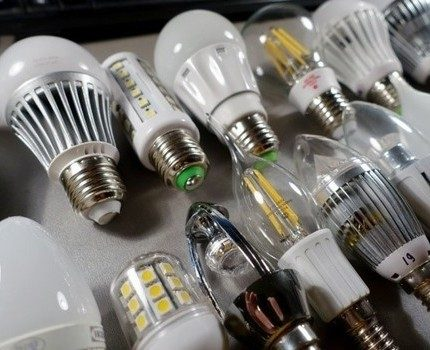 A row of LED lamps