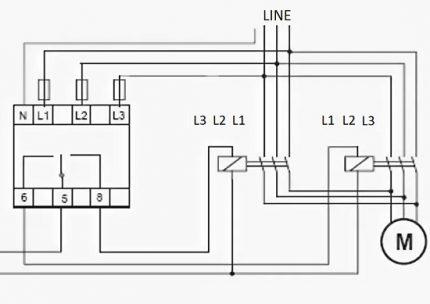 Fāzes vadības releja savienojuma shēma