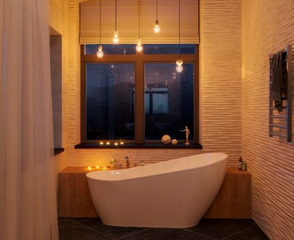 Kaitrinės LED lempos vonios kambario interjere