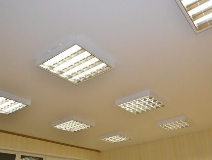 Lamps under T8 on the ceiling