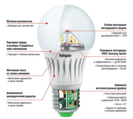 Structural components of the LED lamp