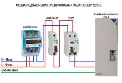 Scheme of connecting the boiler through an RCD