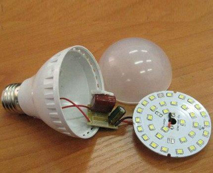 Lampe LED démontée