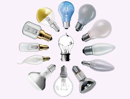 Assortment of incandescent lamps