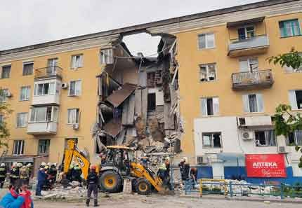 Gas explosion in a residential building