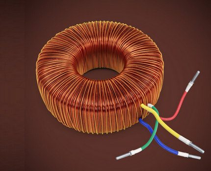 Toroidal core with windings