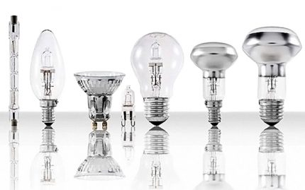 Different types of halogen lamps