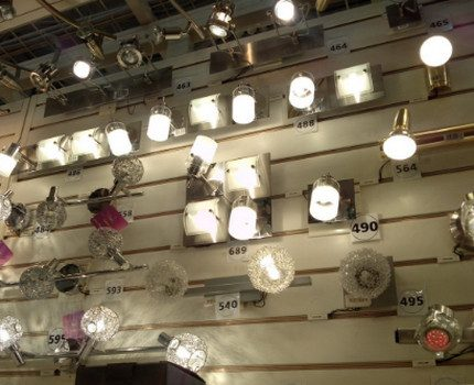 Halogen lamps in the store