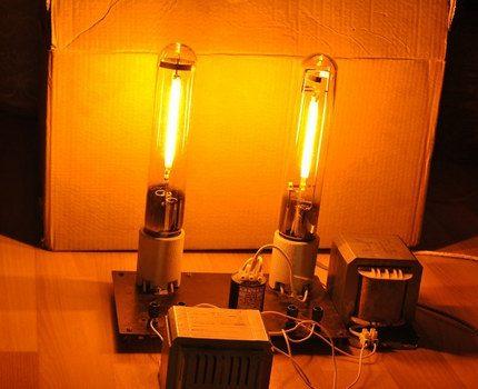 Sodium lamps at work