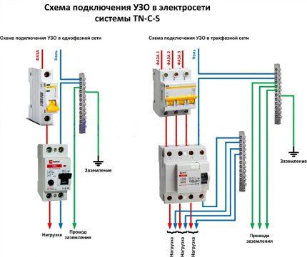 Divas RCD savienojuma shēmas