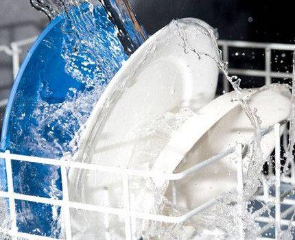 Assiettes dans le filet du lave-vaisselle