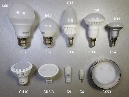 Options de boîtier et de base LED