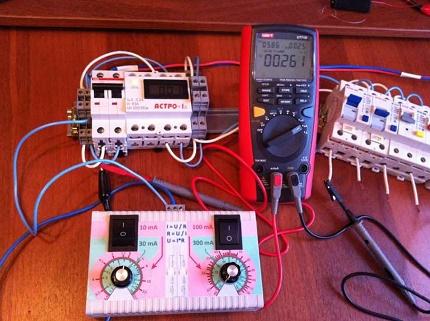 Multimeter tests an UZO