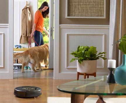 Robotdammsugare i ett hus med djur
