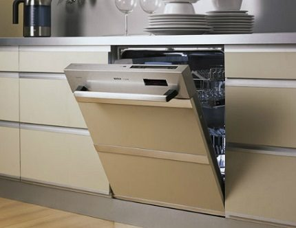 Partially integrated dishwasher