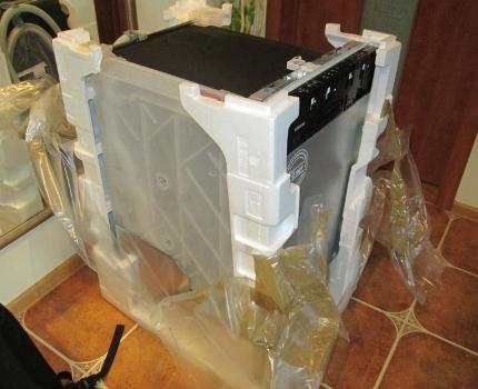 Unpacking a new dishwasher