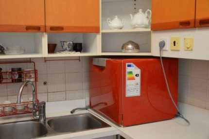 Compact dishwasher at the sink
