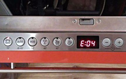 Error on dishwasher display