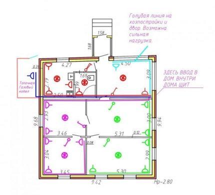 Kontaktligzdu un slēdžu uzstādīšanas shēma