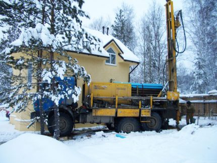 Drilling a well in winter
