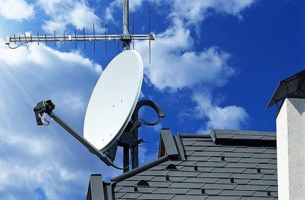Rooftop satellite dish