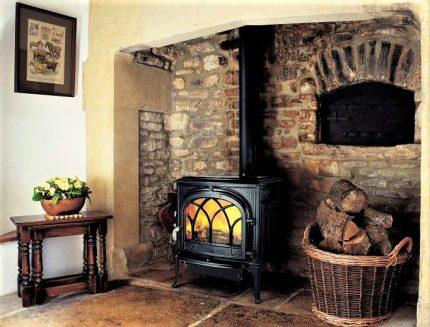 Cast iron stove in the interior
