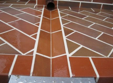 Water drainage through a special groove
