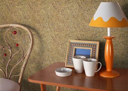 Cork wallpaper in the interior