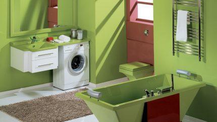 Washing machine in the interior